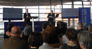 Professor Dafydd Johnston & Andrew Hawke speaking during the launch